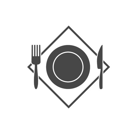 Black restaurant menu icon plate with cutlery fork, knife isolated