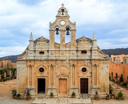 Arkadia monastery front view facadde in Crete, Greece