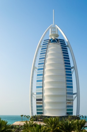 classed: DUBAI, UAE - December, 11: Burj Al Arab hotel on December, 11, 2013 in Dubai. Burj Al Arab is a luxury 7 stars hotel classed as one of the most luxurious in the world.