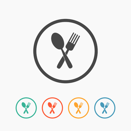 Crossed fork and spoon flat icon vector in button. Vector