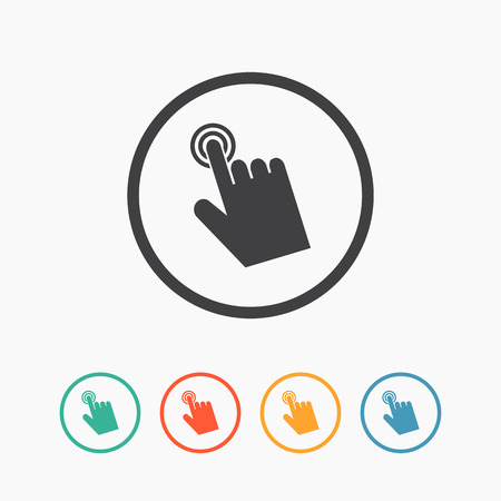 Cursor hand icon. Click sign pointer flat vector