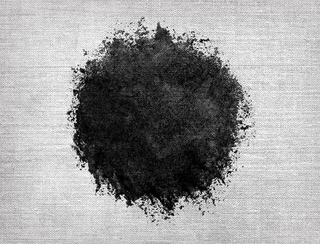 Watercolor circle, black drop on linen burlap sack texture. Closeup