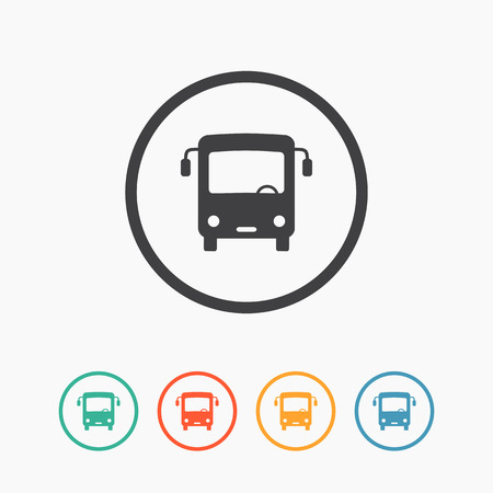 Minimalistic simple flat bus icon with color variations. Vector illustration Vector