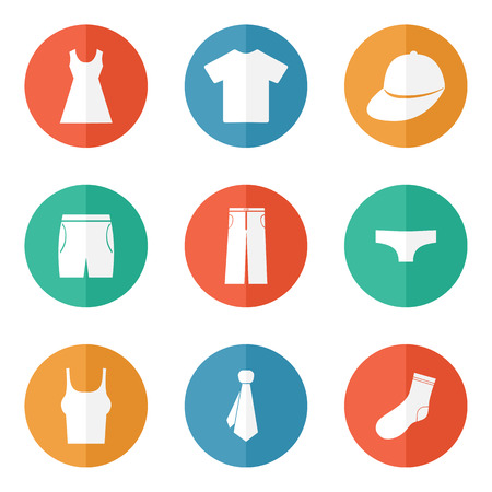 Habillement icônes, boutons notion de signe vecteur web Illustration