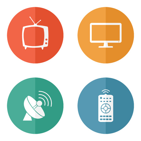 Vector household tv related icons on colored buttons Ilustrace