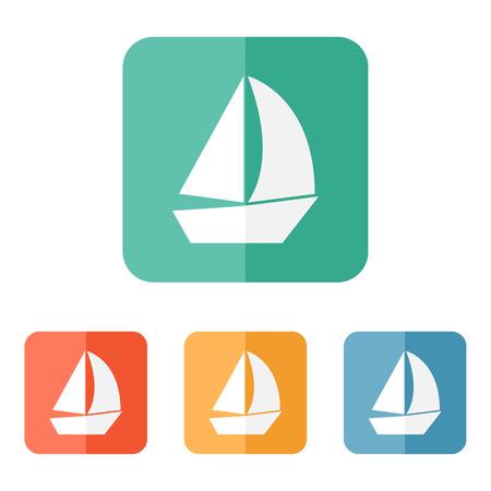 Sail boat icon vector, flat ship sign 일러스트