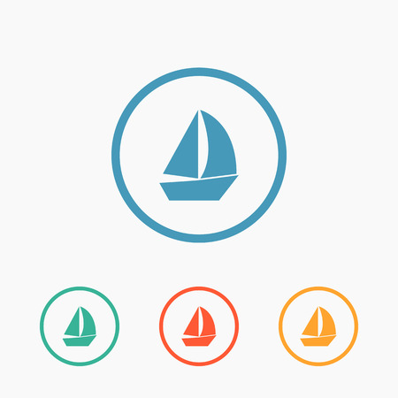 sailer: Sail boat icon vector, flat ship sign Illustration