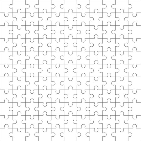 Jigsaw puzzle vector, blank simple template 11x11