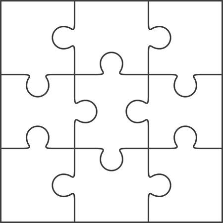 Jigsaw puzzle vector, blank simple template 3x3 일러스트