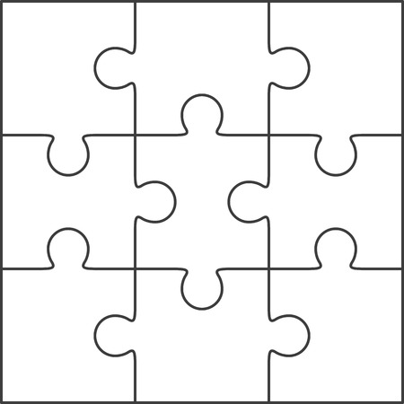 Jigsaw puzzle vector, blank simple template 3x3 Çizim