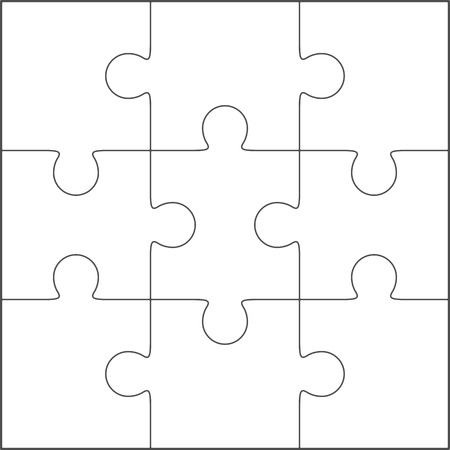Jigsaw puzzle vector, blank simple template 3x3 Ilustracja