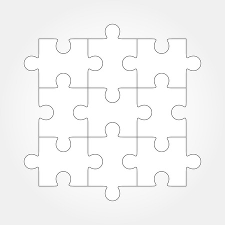 Jigsaw puzzle blank simple vector, 9 pieces. Pieces are easy to separate, every piece is a single shape.