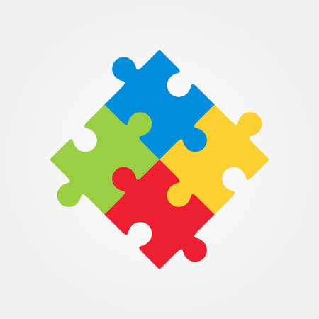 jigsaw puzzle pieces: Four puzzle colored pieces vector illustration, isolated on white background.