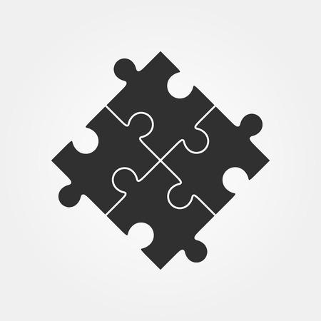 foda: Cuatro rompecabezas de piezas ilustración vectorial, aislados en fondo blanco.