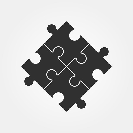 Vier puzzelstukjes Vector illustratie, geïsoleerd op een witte achtergrond.