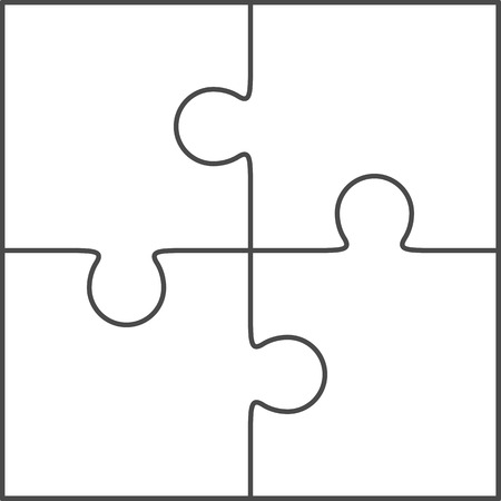 Jigsaw puzzle vector, blank simple template 2x2, four pieces Vettoriali