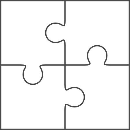 piezas de rompecabezas: Vector Rompecabezas, blanco sencilla 2x2 plantilla, cuatro piezas