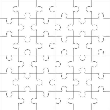 36 6: Jigsaw puzzle vector, blank simple template, 36 pieces