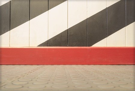 sidelong: Background with an empty wall and tile floor with copy space for your text Stock Photo