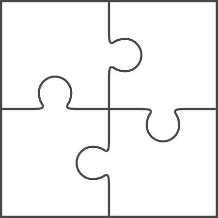 Jigsaw puzzle vector, blank simple template 2x2, four pieces Vectores