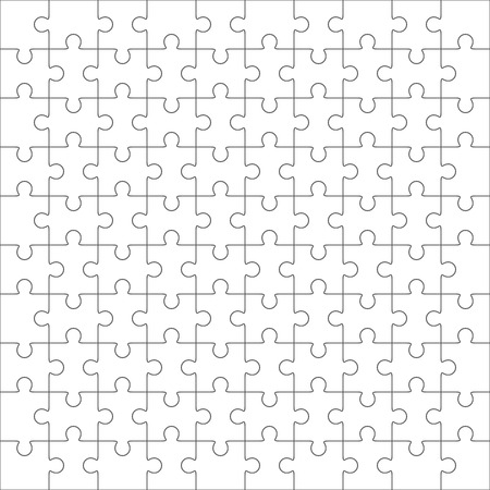 10: Jigsaw puzzle vector, blank simple template 10 x 10