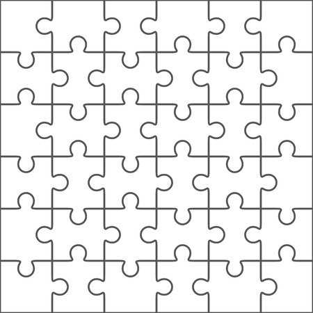 Jigsaw puzzle vector, blank simple template, 36 pieces