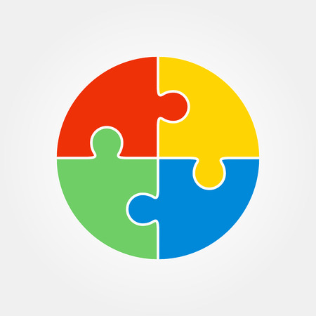 Jigsaw puzzle in the form of a colored circle. Vector illustration. Illustration