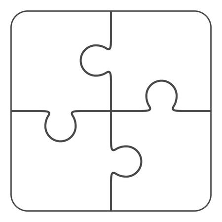 Jigsaw puzzle vector, blank simple template 2x2, four pieces Ilustracja