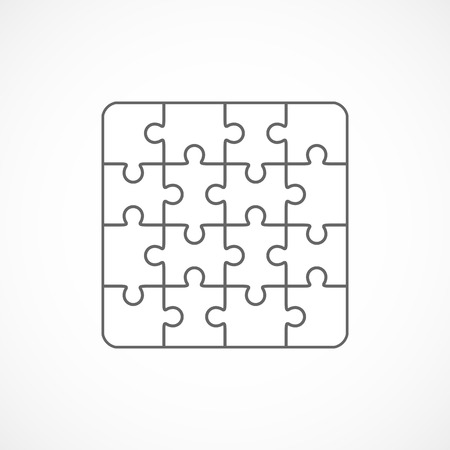 sixteen: Jigsaw puzzle vector, blank simple template sixteen elements