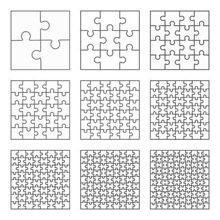 Jigsaw puzzle nine vector templates set of different blank simple pieces