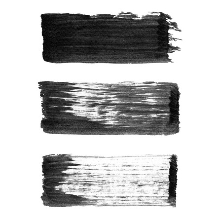 High resolution abstract black watercolor painted strokes isolated on white background Stock Photo