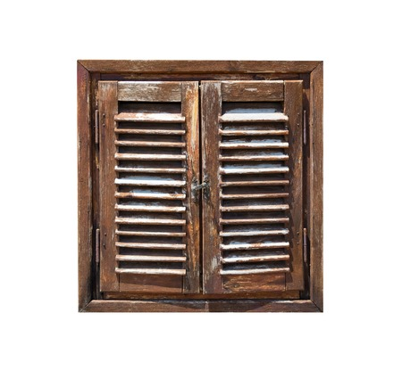 wooden window: Aged weathered wooden window shutters isolated on white background