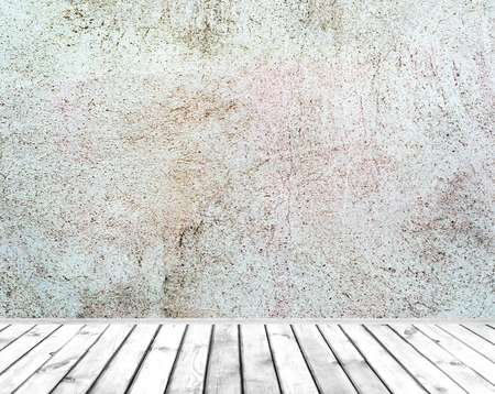 indoor background: Room interior: grey painted cement wall with old wooden floor