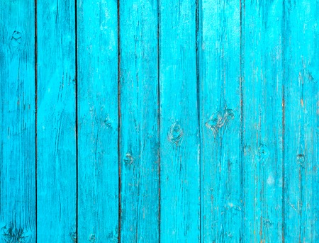 Old painted blue wood fence - texture or background Stock Photo