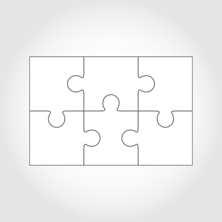 puzzles: Six  jigsaw puzzle parts, blank vector 2x3 pieces isolated Illustration