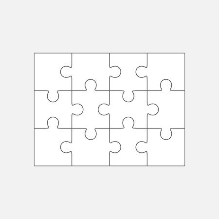 Jigsaw puzzle vector, blank simple template 4x3, twelve pieces