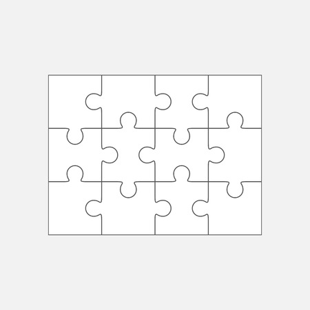 Jigsaw puzzle vector, blank simple template 4x3, twelve pieces
