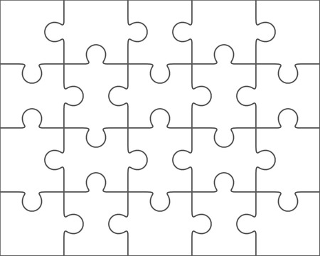 Jigsaw puzzle vector, blank simple template 4x5, twenty pieces
