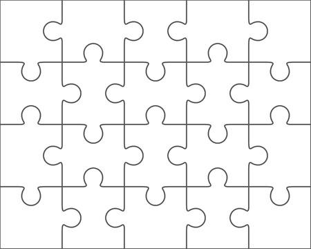 jigsaw puzzle vector blank simple template 4x5 twenty pieces