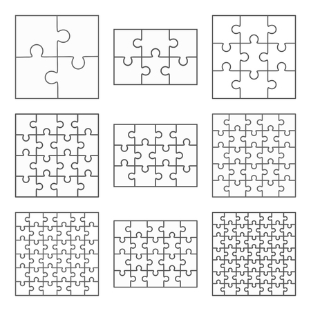 jigsaw puzzle pieces: Jigsaw puzzle nine vector templates set of different blank simple pieces
