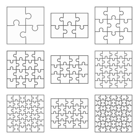 Rompecabezas nueve plantillas vector conjunto de diferentes piezas sencillas en blanco