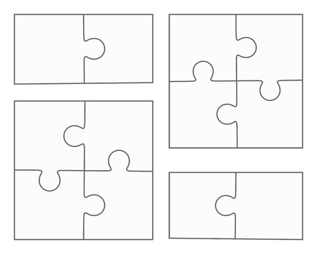 Jigsaw puzzle vector, blank simple templates, four pieces, two elements