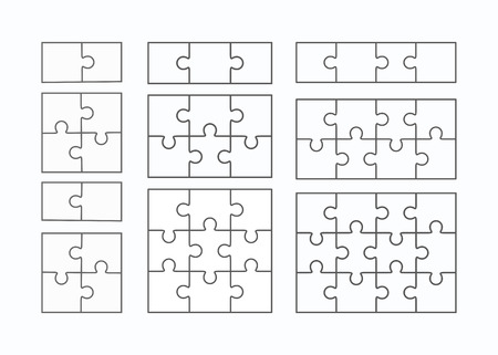 Jigsaw puzzle vector templates set of different blank simple pieces Ilustração