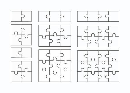 Puzzel vector sjablonen set van verschillende lege eenvoudige stukken Vector Illustratie