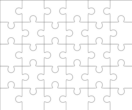 thirty: Jigsaw puzzle vector, blank simple template 5x6, thirty pieces