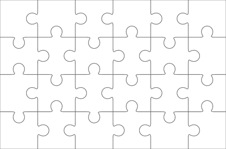 Jigsaw puzzle blank template 6x4 elements, twenty four puzzle pieces. Vector illustration. Фото со стока - 45294959
