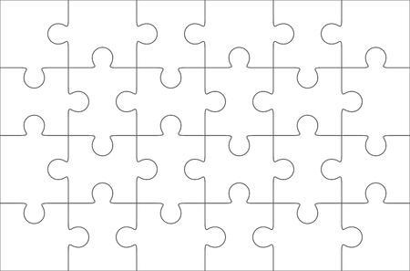 twenty six: Jigsaw puzzle blank template 6x4 elements, twenty four puzzle pieces. Vector illustration.