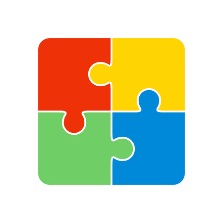 Colorful jigsaw puzzle vector, four pieces isolated Ilustração