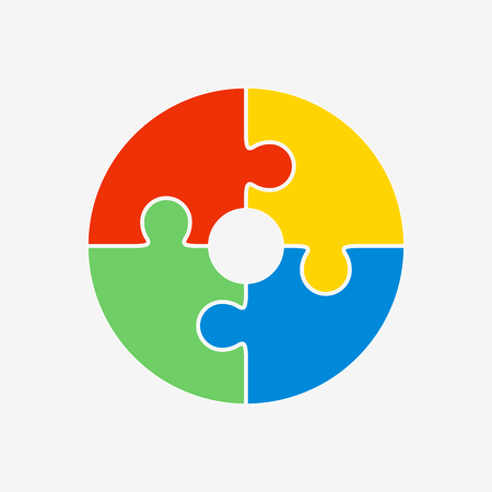 円の形のジグソー パズルは、4 つの色の部分で構成されます。ベクトルの図。