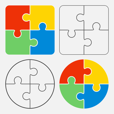 Colorful jigsaw puzzle vector, four pieces isolated Illustration